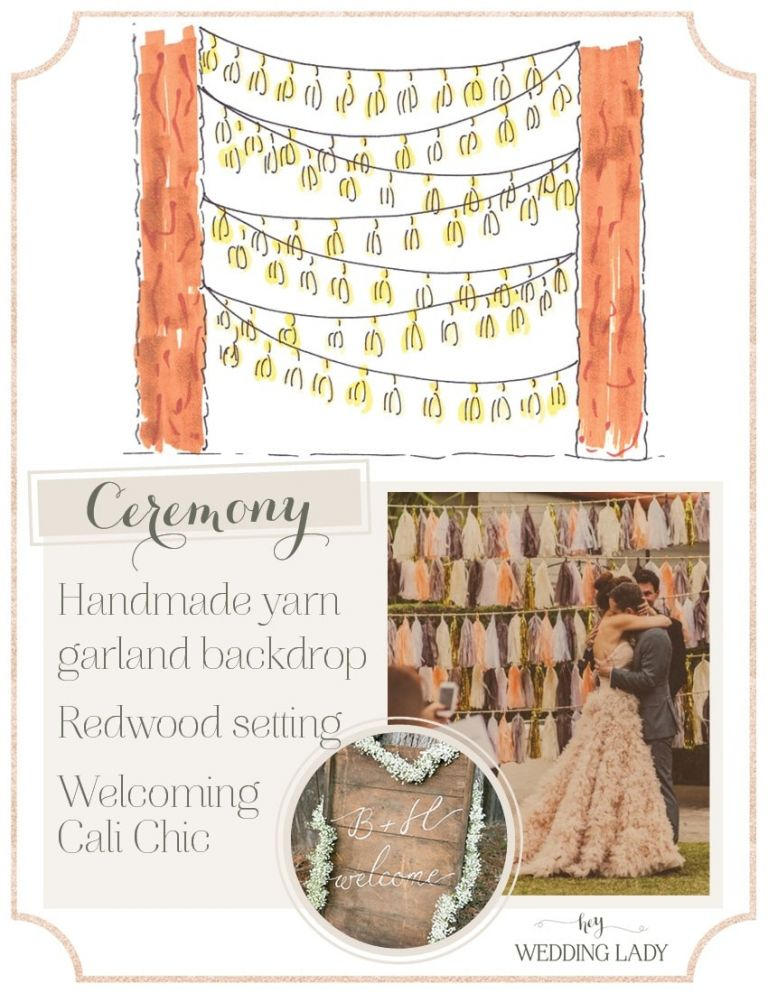 A Handmade Tassel Garland Ceremony Backdrop   Styling Guide for a Rustic Modern Wedding with Graphic Details and Tassel Garlands