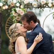 Perfect First Kiss | Mathew Irving Photography | A Stylish Early Autumn Wedding in the Mountains for an Outdoor Loving Couple