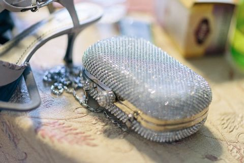 Silver Crystal Bridal Clutch | Mathew Irving Photography | A Stylish Early Autumn Wedding in the Mountains for an Outdoor Loving Couple