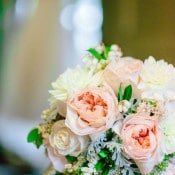 Peach and Ivory Garden Rose Bouquet | Mathew Irving Photography | A Stylish Early Autumn Wedding in the Mountains for an Outdoor Loving Couple