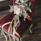 Pink and Berry Bouquet with Trailing Ribbons | Loblee Photography | Modern Floral Print and Gold Sequin Bridal Portraits