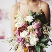 Pink and Berry Bouquet | Loblee Photography | Modern Floral Print and Gold Sequin Bridal Portraits