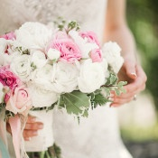 Pink and White Ranunculus and Rose Bouquet | Megan Robinson Photography and Leslie Dawn Events | Pearls and Roses - Vintage French Glam Wedding Portraits