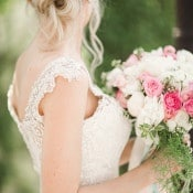 Beaded Lace Wedding Dress with a Crystal Headpiece | Megan Robinson Photography and Leslie Dawn Events | Pearls and Roses - Vintage French Glam Wedding Portraits