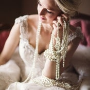 Classic Bride with Strands of Pearls | Megan Robinson Photography and Leslie Dawn Events | Pearls and Roses - Vintage French Glam Wedding Portraits