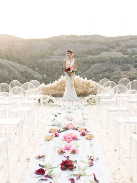 Modern Desert Wedding Ceremony with a Flower Aisle Runner | Carlie Statsky Photography | Unique Floral Design Inspiration for Spring Weddings!