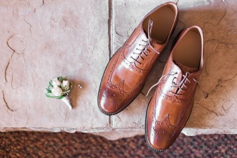 Cognac Leather Shoes for the Groom | Royce Sihlis Photography and Created Lovely Events | Sparkling Blush and Champagne Wedding in an Apple Orchard