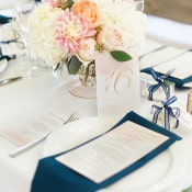 Navy, Blush, and Gold Place Setting | Royce Sihlis Photography and Created Lovely Events | Sparkling Blush and Champagne Wedding in an Apple Orchard