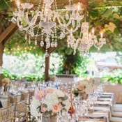 Elegant Arbor Wedding Reception with Crystal Chandeliers | Royce Sihlis Photography and Created Lovely Events | Sparkling Blush and Champagne Wedding in an Apple Orchard
