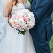 Rose and Dahlia Bouquet with a Glittering Wedding Dress | Royce Sihlis Photography and Created Lovely Events | Sparkling Blush and Champagne Wedding in an Apple Orchard