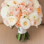 Peach and Ivory Bridal Bouquet | Royce Sihlis Photography and Created Lovely Events | Sparkling Blush and Champagne Wedding in an Apple Orchard