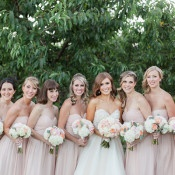 Bridesmaids in Blush Strapless Gowns by Donna Morgan | Royce Sihlis Photography and Created Lovely Events | Sparkling Blush and Champagne Wedding in an Apple Orchard