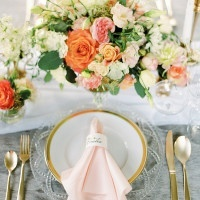 Romantic Place Setting in Blush and Gold | Peaches & Mint Photography | A Blooming Spring Wedding full of Lush Flowers in Peach and Fresh Green - https://heyweddinglady.com/blooming-spring-wedding-full-of-lush-flowers/