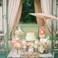 Charming Pastel Wedding Cake and Dessert Display | Peaches & Mint Photography | A Blooming Spring Wedding full of Lush Flowers in Peach and Fresh Green - https://heyweddinglady.com/blooming-spring-wedding-full-of-lush-flowers/