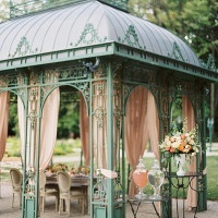 Elegant Wedding Reception Under a Draped Pavilion | Peaches & Mint Photography | A Blooming Spring Wedding full of Lush Flowers in Peach and Fresh Green - https://heyweddinglady.com/blooming-spring-wedding-full-of-lush-flowers/