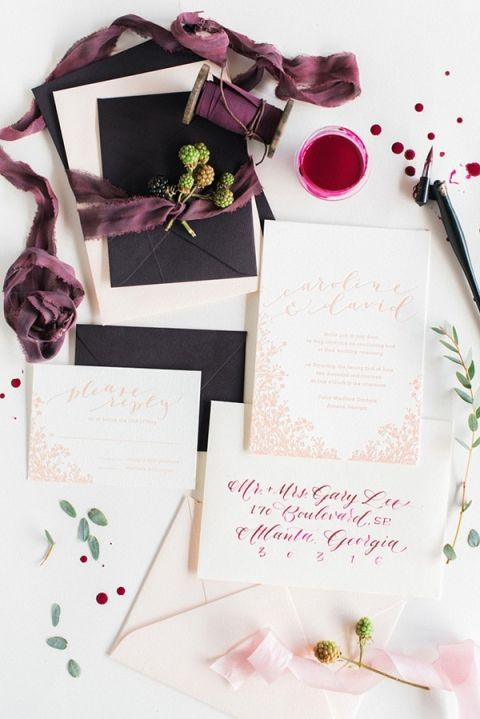 Luxurious Plum Calligraphy Wedding Invitation | Rustic White Photography | Winter Light - Graceful Burgundy and Blush Wedding Shoot