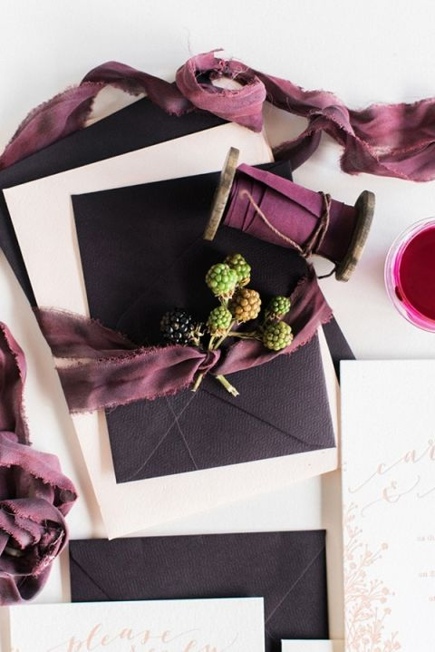 Berry and Silk Ribbon Stationery | Rustic White Photography | Winter Light - Graceful Burgundy and Blush Wedding Shoot