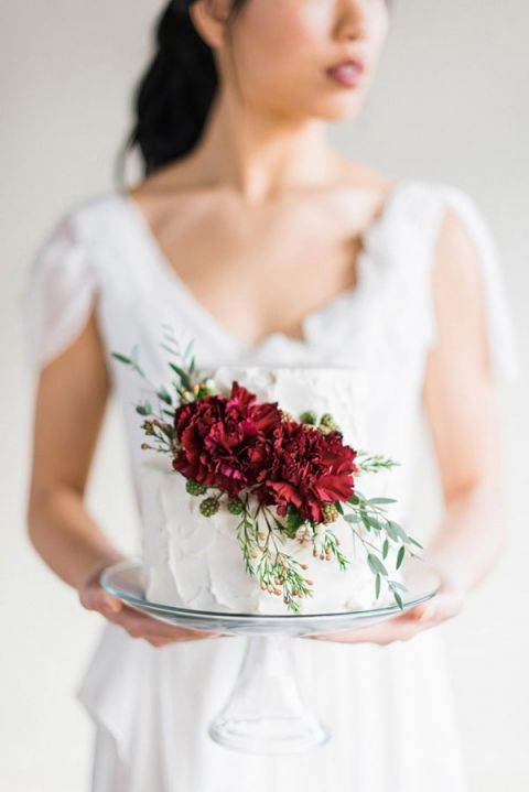 Petite Wedding Cake with Rich Ruby Flowers | Rustic White Photography | Winter Light - Graceful Burgundy and Blush Wedding Shoot