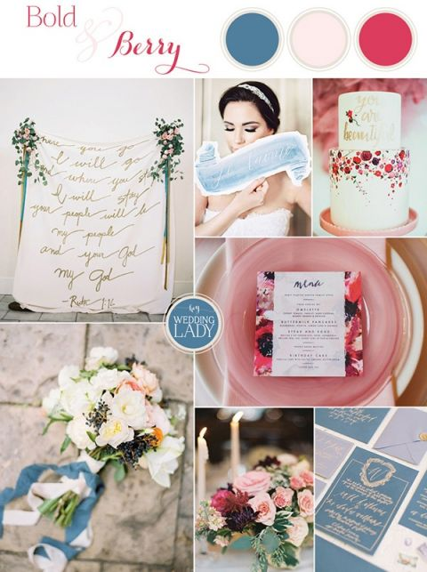 Bold Blue and Berry Summer Wedding Palette