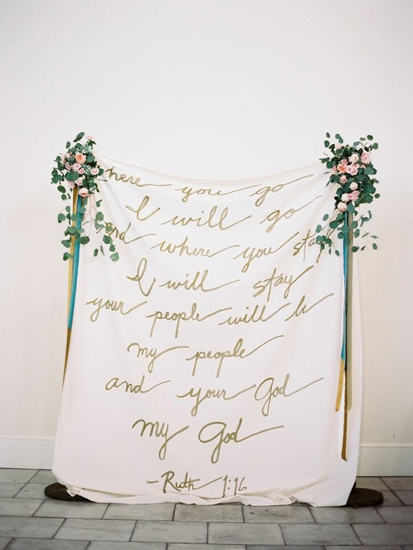 Calligraphy Scripture Ceremony Backdrop | Lauren Kinsey Fine Art Photography | Bold Blue and Berry Artistic Wedding Inspiration with Floral Print and Calligraphy Details