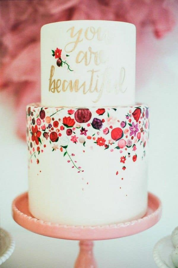 Floral Print Cake | Mr. Haack Photography | Bold Blue and Berry Artistic Wedding Inspiration with Floral Print and Calligraphy Details