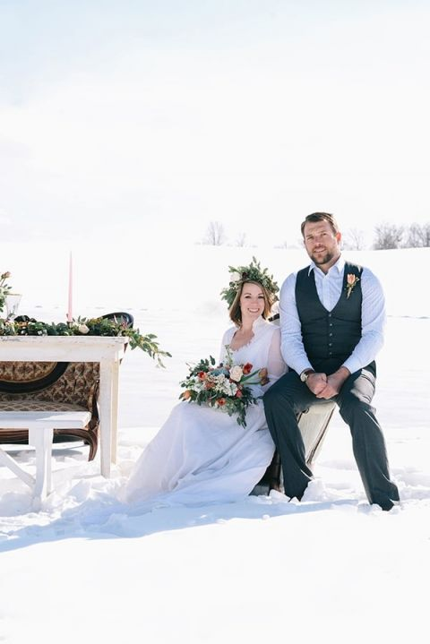 Early Spring Wedding Portraits In The Snow