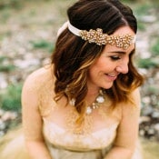Crystal and Gold Bridal Headpiece | Tonie Christine Photography | Starting a New Adventure with A Surprise Vow Renewal - https://heyweddinglady.com/starting-a-new-adventure-with-a-surprise-vow-renewal/