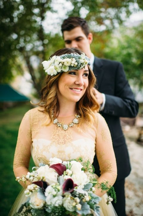 Surprising the Bride with a Flower Crown | Tonie Christine Photography | Starting a New Adventure with A Surprise Vow Renewal - https://heyweddinglady.com/starting-a-new-adventure-with-a-surprise-vow-renewal/