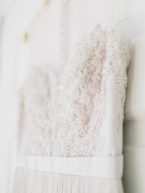 Crystal Embroidered Wedding Dress | Rachel May Photography and Amore Events by Cody | Garnet and Rose Gold - An Enchanted Garden Wedding Editorial - https://heyweddinglady.com/garnet-and-rose-gold-an-enchanted-garden-wedding-editorial/