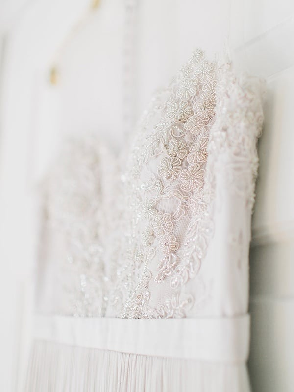 Crystal Embroidered Wedding Dress   Rachel May Photography and Amore Events by Cody   Garnet and Rose Gold - An Enchanted Garden Wedding Editorial - http://heyweddinglady.com/garnet-and-rose-gold-an-enchanted-garden-wedding-editorial/