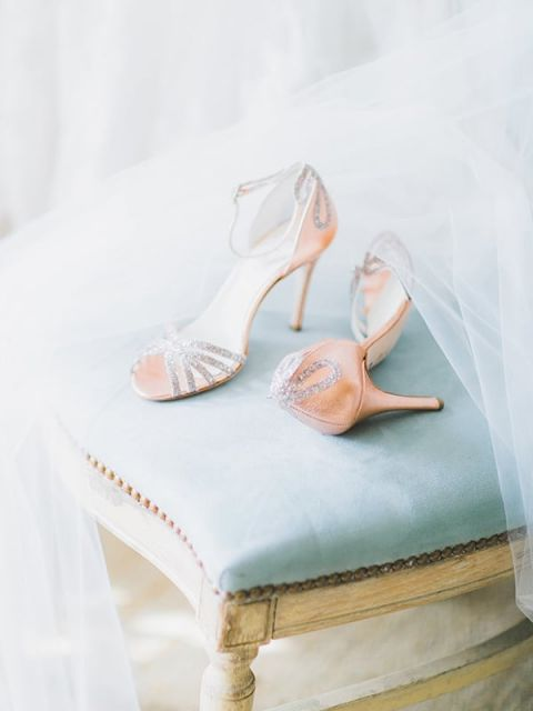 Rose Gold and Sparkle Bridal Shoes | Rachel May Photography and Amore Events by Cody | Garnet and Rose Gold - An Enchanted Garden Wedding Editorial - https://heyweddinglady.com/garnet-and-rose-gold-an-enchanted-garden-wedding-editorial/