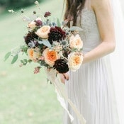 Elegant Burgundy and Peach Bouquet | Rachel May Photography and Amore Events by Cody | Garnet and Rose Gold - An Enchanted Garden Wedding Editorial - https://heyweddinglady.com/garnet-and-rose-gold-an-enchanted-garden-wedding-editorial/