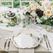 Gorgeous Neutral Textures for an Elegant Head Table with Peach and Burgundy Botanical Flowers | Rachel May Photography and Amore Events by Cody | Garnet and Rose Gold - An Enchanted Garden Wedding Editorial - https://heyweddinglady.com/garnet-and-rose-gold-an-enchanted-garden-wedding-editorial/