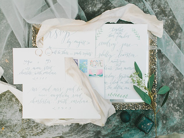 Sweet Botanical Inspired Calligraphy Wedding Invitation   Rachel May Photography and Amore Events by Cody   Garnet and Rose Gold - An Enchanted Garden Wedding Editorial - http://heyweddinglady.com/garnet-and-rose-gold-an-enchanted-garden-wedding-editorial/