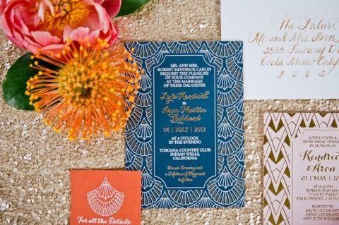 Moroccan Inspired Wedding Invitation | onelove photography | Bold Colors and Modern Sparkle in Palm Springs for a Glam Desert Wedding