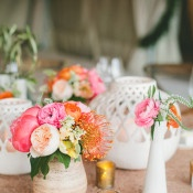 Colorful Modern Centerpieces | onelove photography | Bold Colors and Modern Sparkle in Palm Springs for a Glam Desert Wedding