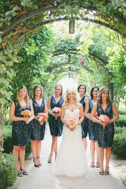 Bridesmaids in Navy Sequins | onelove photography | Bold Colors and Modern Sparkle in Palm Springs for a Glam Desert Wedding
