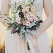Blush Pink Rose Bouquet | Mintwood Photo Co. | Elegant DIY Wedding in an Autumn Garden