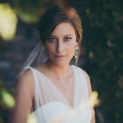 Dramatic Bridal Makeup and Statement Earrings | Mintwood Photo Co. | Elegant DIY Wedding in an Autumn Garden