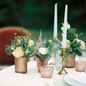 Vintage Pink Votives and Summer Flowers   Melanie Nedelko Photography   A Lush Midsummer Wedding on the River in Fresh Berry and Mint