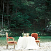 Velvet Chairs set by the River | Melanie Nedelko Photography | A Lush Midsummer Wedding on the River in Fresh Berry and Mint