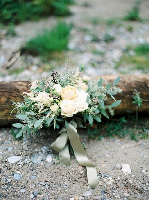 Loose Green and Ivory Bouquet   Melanie Nedelko Photography   A Lush Midsummer Wedding on the River in Fresh Berry and Mint