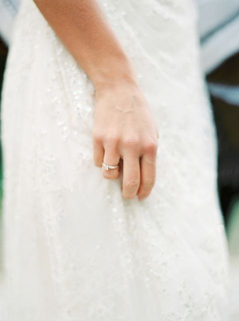 Delicately Beaded Lace Wedding Dress   Melanie Nedelko Photography   A Lush Midsummer Wedding on the River in Fresh Berry and Mint