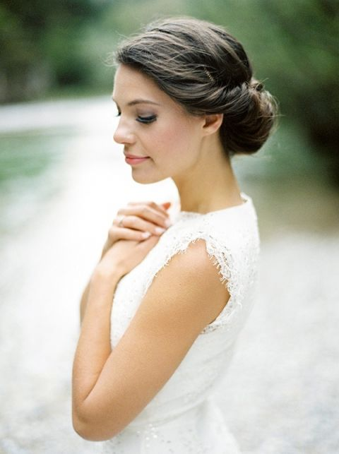Romantic Bridal Updo with a Lace Dress   Melanie Nedelko Photography   A Lush Midsummer Wedding on the River in Fresh Berry and Mint