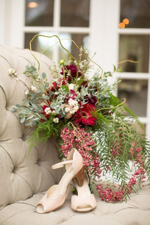 Jewel Tone Fall Bouquet and Nude Bridal Shoes