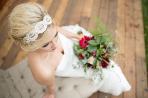 Bridal Updo with a Crystal Head Band