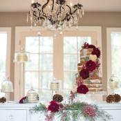 Rustic Fall Wedding Cake Display | Ashley Cook Photography | Jewel Toned Autumn Woodland Wedding Shoot