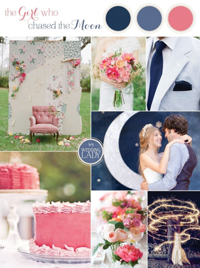 The Girl Who Chased the Moon - Navy and Coral Preppy Southern Wedding