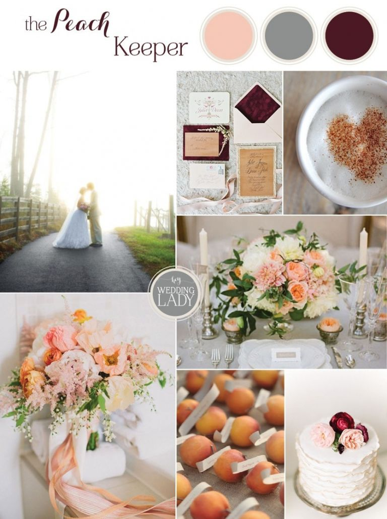 The Peach Keeper - Sophisticated Peach, Burgundy, and Gray Southern Wedding