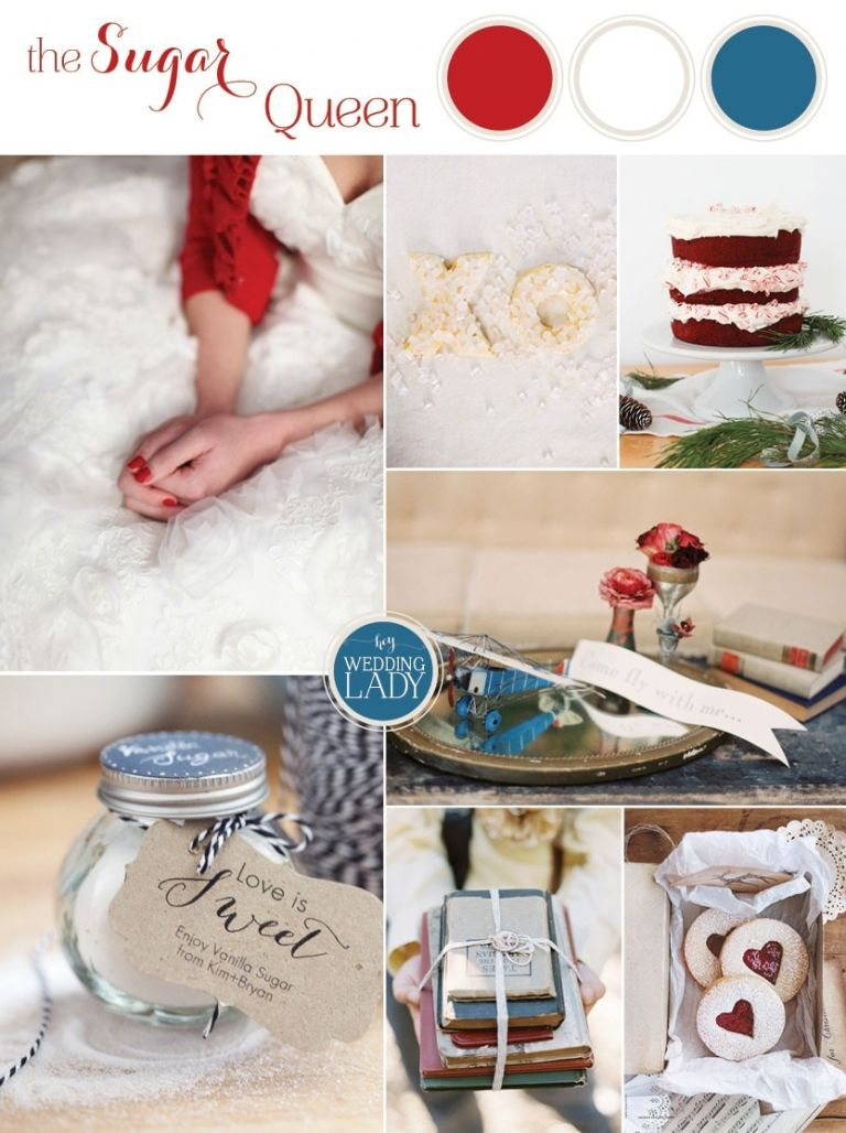The Sugar Queen - Blue and Red Winter Wedding with Lots of Sweets